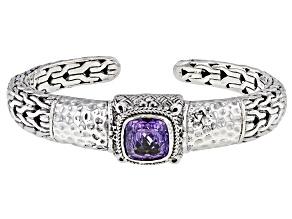 Pinnacle Star™ Quartz Silver Solitaire Cuff Bracelet 4.25ctw