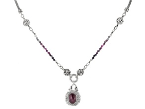 Ruby And Pink Ombre Sapphire Bead Silver Necklace