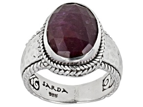 Ruby Sterling Silver Solitaire Ring 6.38ctw