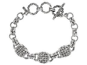 """Sterling Silver """"Special Possession"""" Basket Weave Design Bracelet"""
