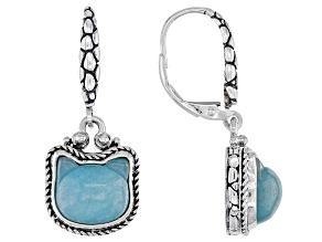 Teal Quartzite Sterling Silver Kitty Earrings
