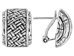 "Sterling Silver ""Special Possession"" Basket Weave Stud Earrings"