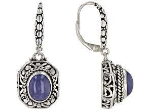 Tanzanite Cabochon Sterling Silver Dangle Earrings