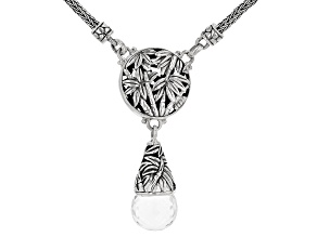 White Quartz Silver Bamboo Leaf Necklace 14.23ctw