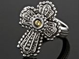 Sterling Silver And 18k Gold Accent Cross Ring