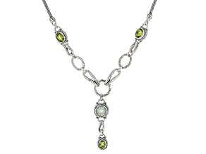 Prehnite And Oval Peridot Sterling Silver Necklace 7.86ctw