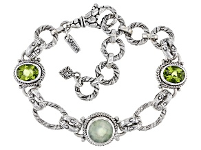 Prehnite And Oval Peridot Sterling Silver Bracelet 6.75ctw