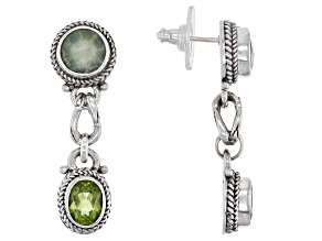 Prehnite And Peridot Sterling Silver Dangle Earrings 5.36ctw