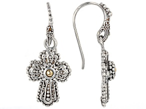 Sterling Silver And 18k Gold Accent Cross Earrings