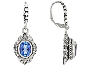Royal Bali Blue™ Topaz Silver Dangle Earrings 4.08ctw