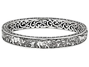 "Sterling Silver ""Tree Of Wisdom"" Safari Bangle Bracelet"