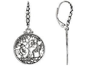 """Sterling Silver """"Tree Of Wisdom"""" Safari Dangle Earrings"""
