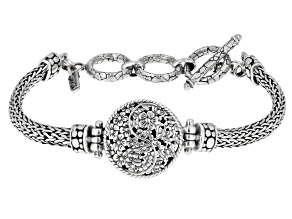 "Sterling Silver ""Here Is Life"" Floral Bracelet"