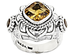 Citrine Sterling Silver Floral Ring 2.87ctw