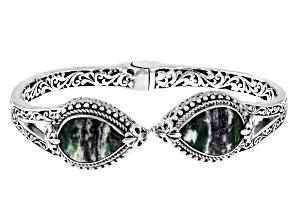 Green Opal Cabochon Sterling Silver Bracelet