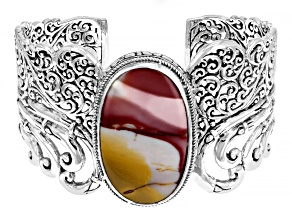 Mookaite Cabochon Sterling Silver Cuff Bracelet