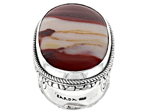 Mookaite Cabochon Sterling Silver Solitaire Ring