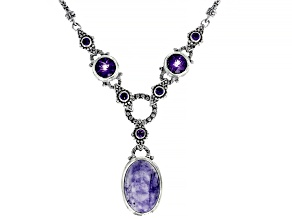Tiffany Stone And Amethyst Sterling Silver Necklace 6.88ctw