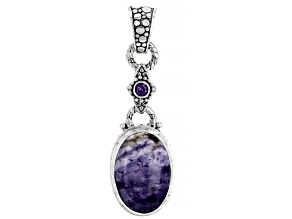 Tiffany Stone And Amethyst Sterling Silver Pendant 0.22ctw