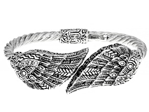 White Zircon Sterling Silver Angel Wing Bypass Bracelet 0.48ctw