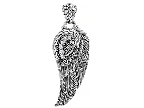 White Zircon Sterling Silver Angel Wing Pendant 0.36ctw