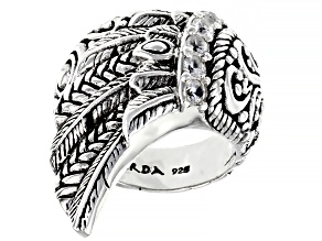 White Zircon Sterling Silver Angel Wing Ring 0.30ctw