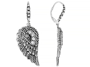 White Zircon Silver Angel Wing Dangle Earrings