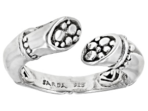 "Sterling Silver ""Supremely Happy Forever"" Bamboo Detail Bypass Ring"