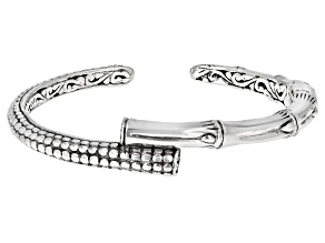 """Sterling Silver """"Supremely Happy Forever"""" Bamboo Detail Bypass Bracelet"""