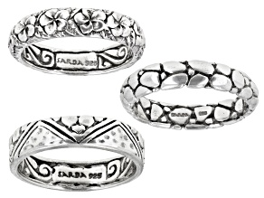 Sterling Silver Stackable Midi Ring Set Of Three