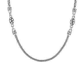 Sterling Silver Bali And Snake Chain Necklace