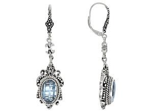 Blue Topaz Sterling Silver Dangle Earrings 6.80ctw