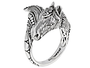 """Sterling Silver """"Tender Life"""" Horse Bypass Ring"""