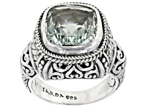 Prasiolite Silver Solitaire Ring 4.25ctw