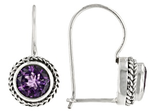 Amethyst Silver Dangle Earrings 3.40ctw