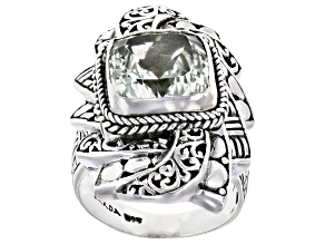 Prasiolite Silver Solitaire Ring 4.25ctw