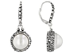 White Mabe Pearl Silver Dangle Earrings