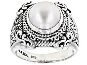 Cultured White Mabe Pearl Silver Solitaire Ring
