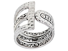 "Sterling Silver ""Light of the World"" Hammered Asymmetrical Ring"