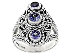 Blue Tanzanite Sterling Silver 3-Stone Ring 0.53ctw