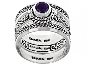 Purple Amethyst Sterling Silver Ring Set 0.55ct