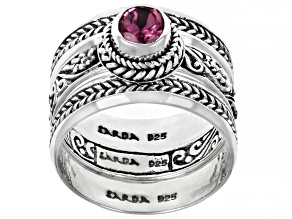 Pink Tourmaline Sterling Silver Ring Set 0.21ct