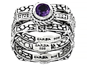 Purple Amethyst Sterling Silver Ring Set 0.43ct