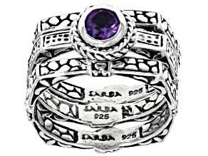 Purple Amethyst Sterling Silver Ring Set 0.43ct