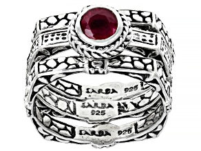 Red Mahaleo(R) Ruby Sterling Silver Ring Set 0.60ct
