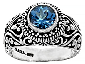 Blue Topaz Sterling Silver Ring 1.53ct