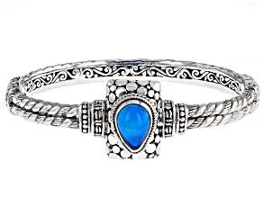Paraiba Color Opal Sterling Silver Bracelet 13x9mm