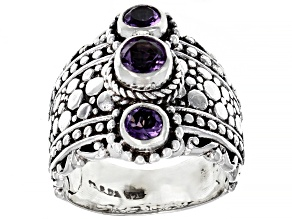 Purple Brazilian Amethyst Sterling Silver 3-Stone Ring 0.58ctw