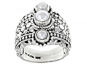 White Cultured Freshwater Pearl Sterling Silver 3-Stone Ring