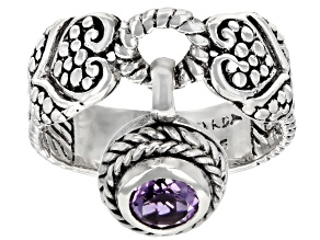 Purple Amethyst Sterling Silver Charm Ring 0.38ct